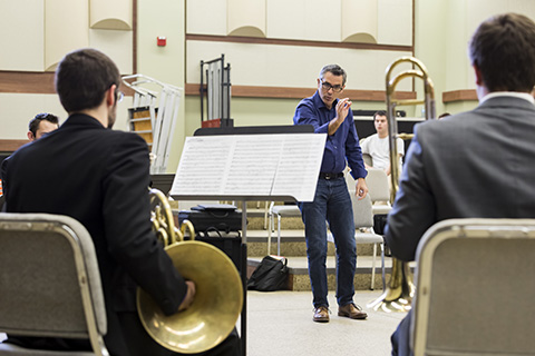Stamps Brass Quintent receiving instruction from a professor