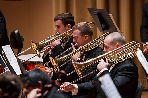 Musicians in the trombone choir perform at the University of Miami