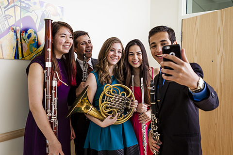 Members of the Woodwinds ensemble taking a selfie