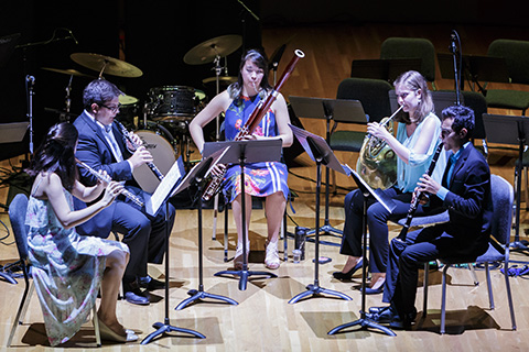 Woodwinds ensemble performing live
