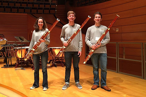 Frost Bassoon musicians pose with their instruments