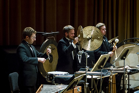 Percussion musicians play alongside the FROST Symphony Orchestra